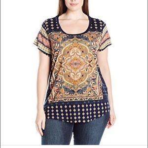 Lucky Brand 1X cap sleeve Persian rug Tee